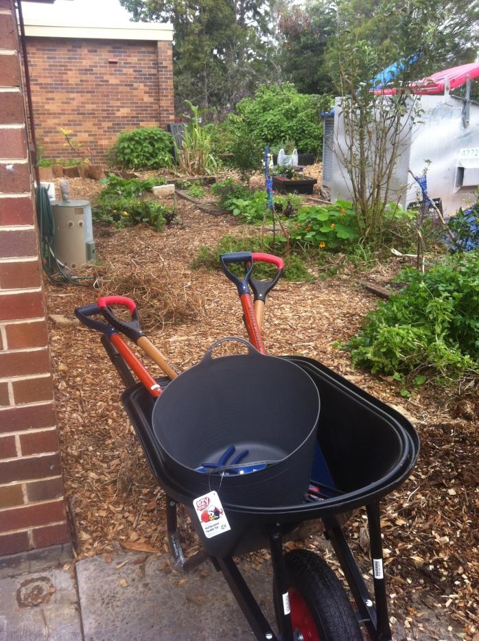 school garden with new tools